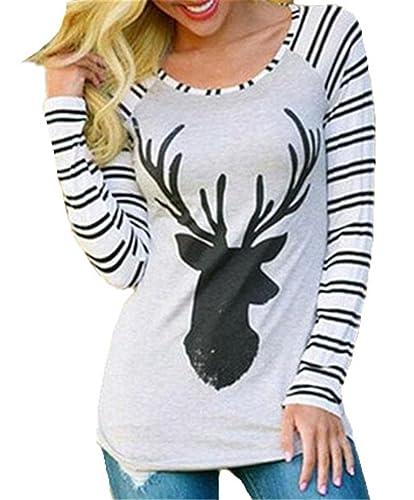 Gogofuture Camiseta Mangas Largas Mujer Casual Blusa Elegante A Rayas Blouses T Shirt Top Impresa Al...