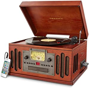 Crosley CR704C-PA Musician Turntable with Radio, CD Player, Cassette and Aux-In, Paprika