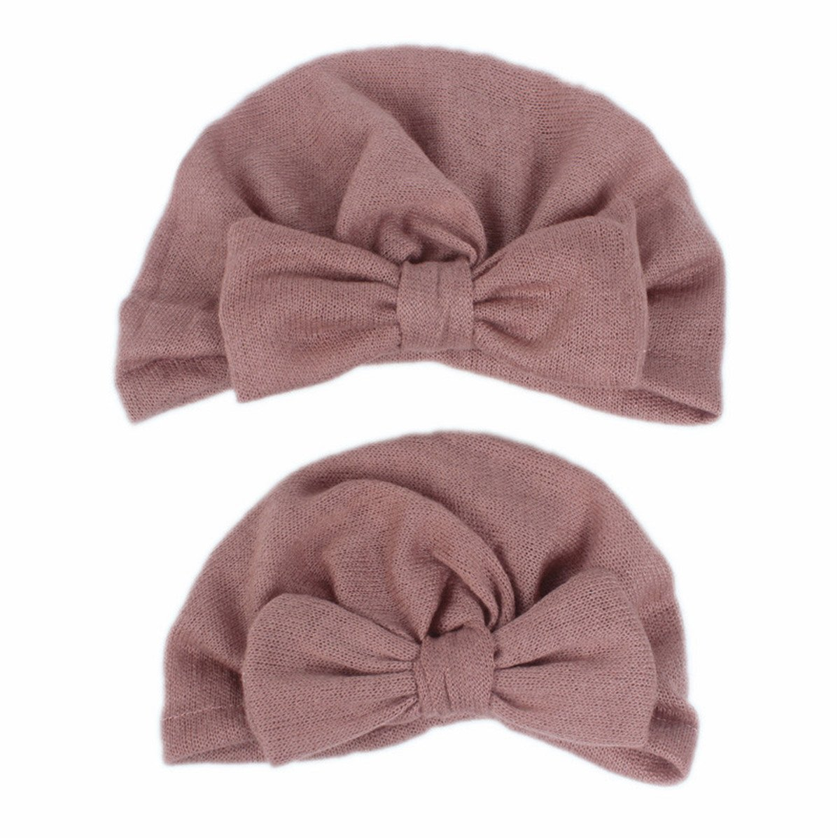 Qhome Mommy and Me Set Jersey Bow Turban Hats for Womens Kids Girls Gifts Baby Kids Headcover Hat Fashion Women Bowknot Cap