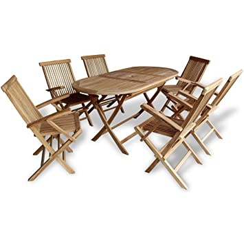 Teak Wood Folding Table And 6 Chairs Patio Garden Dining Set, Patio Garden  Furniture