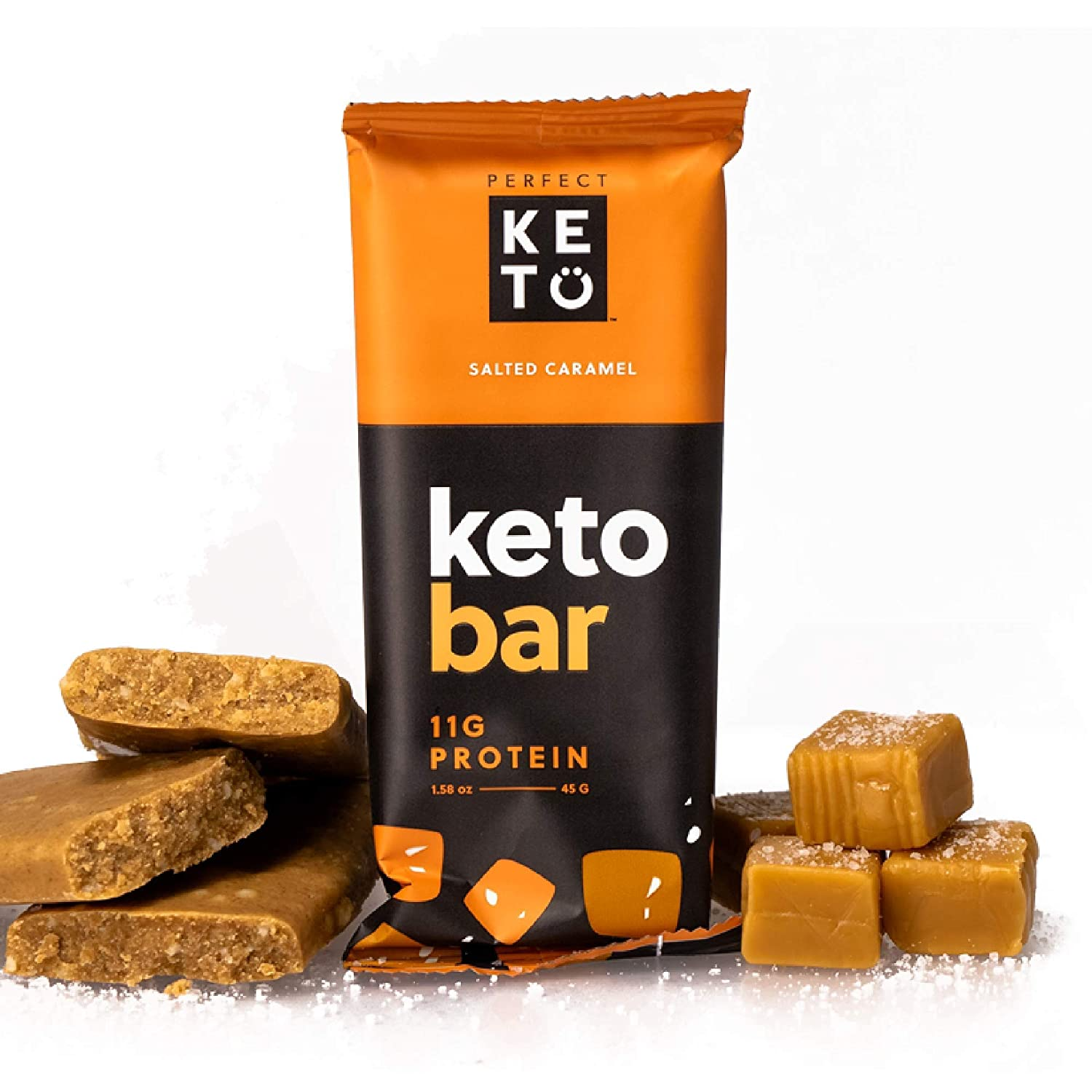 Perfect Keto Bars - The Cleanest Keto Snacks with Collagen and MCT. No  Added Sugar, Keto Diet Friendly - 3g Net Carbs, 19g Fat,11g protein - Keto  Diet Food Dessert (Salted Caramel,