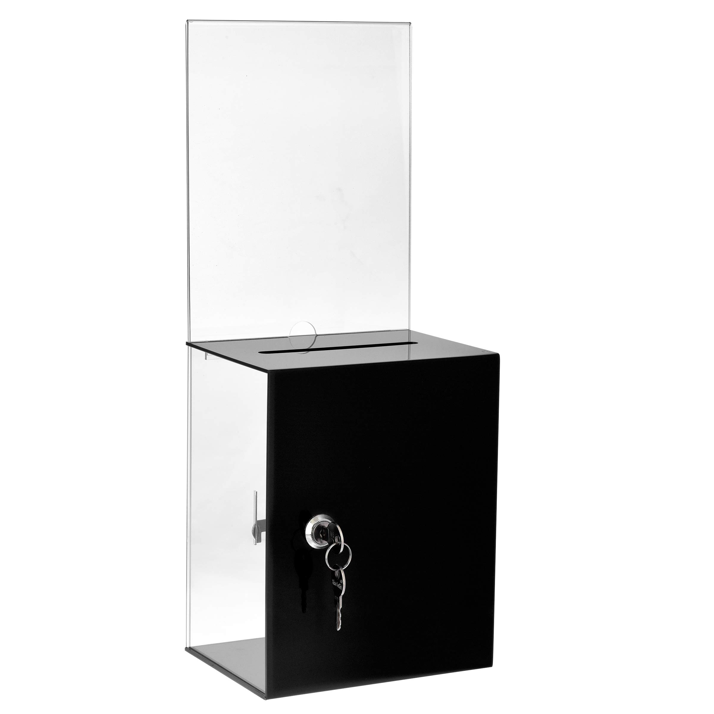 AdirOffice Tall Acrylic Box for Suggestions/Donation Box - Tip Box - Deposit Box - Ballot Box for Home Office and Schools (Black)