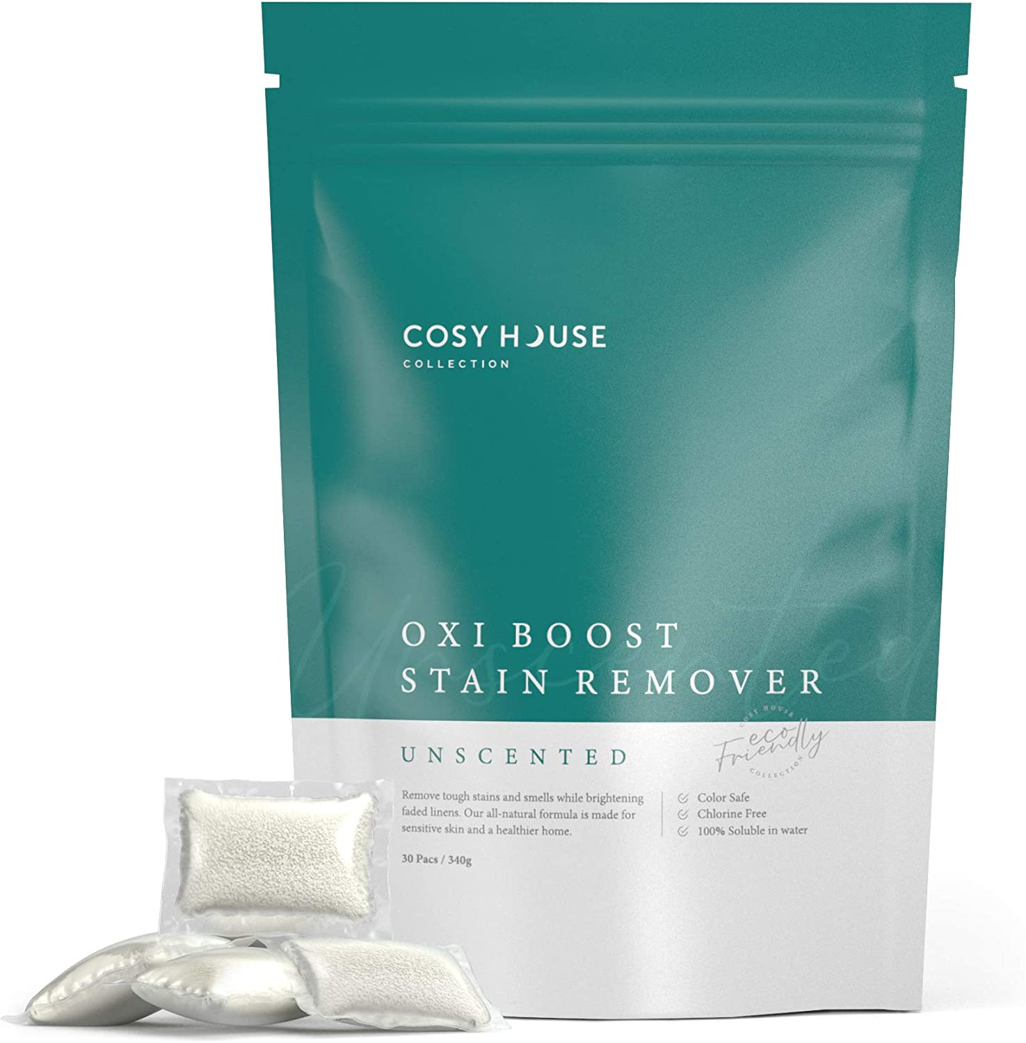Cosy House Collection Oxi Boost Laundry Pacs Powerful Stain Remover - Unscented - Natural Hypoallergenic Chlorine-Free & Color Safe Formula - For All Machine Types