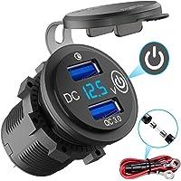 Quick Charge 3.0 USB-stopcontact auto met schakelaar, 12 V/24 V autolader USB-inbouwbus waterdicht sigarettenaansteker…