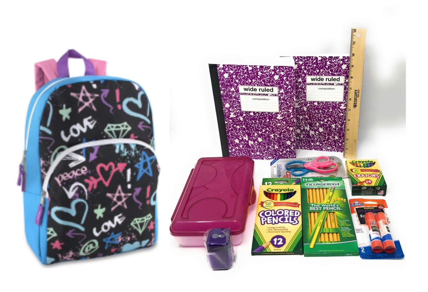 Love Graffiti Backpack with School Supplies Bundle