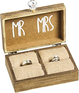 "Cypress Home Wedding Decor ""and Then Two Become One"" Mr. and Mrs. Wooden Ring Holder Decorative Box - 5""W x 6""D x 2""H Elegant Wedding Gift Box"