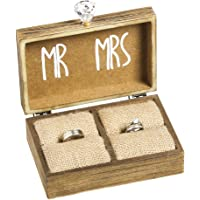"""Cypress Home and The Two Become One Mr. and Mrs. Wooden Ring Holder Decorative Box - 5"""" W x 6"""" D x 2"""" H"""