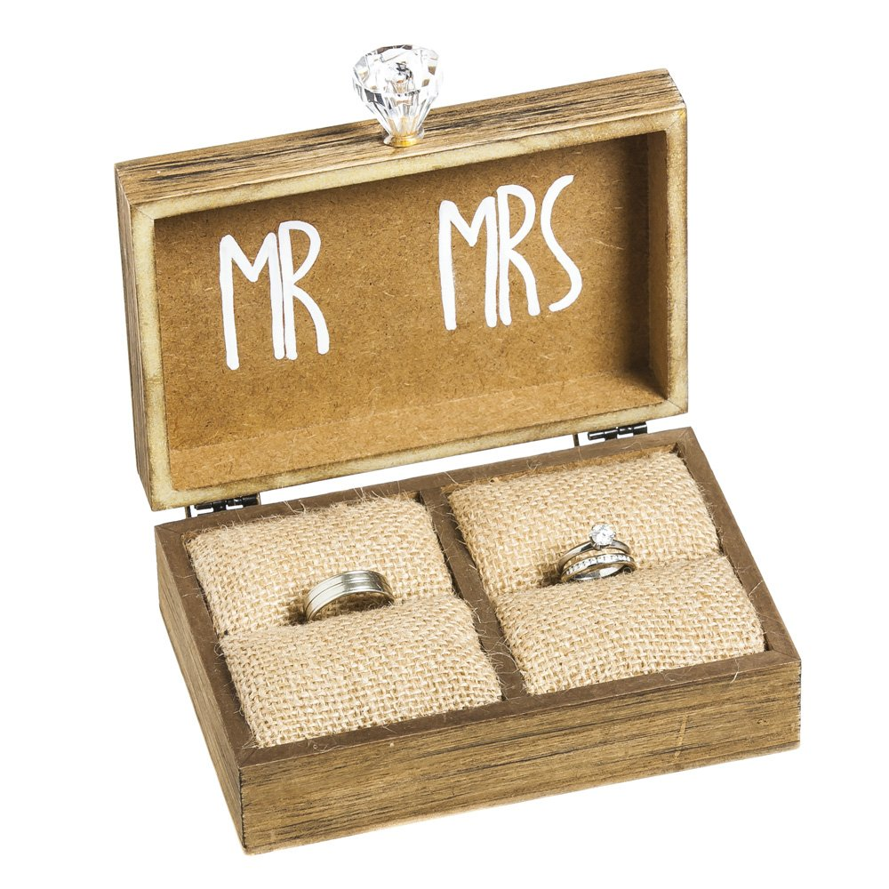 "Cypress Home ""and The Two Become One"" Mr. and Mrs. Wooden Ring Holder Decorative Box - 5""W x 6""D x 2""H 8TAW191"