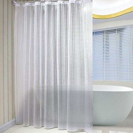 SR SUN RISE Mildew Resistant EVA 3D Shower Curtain Liner With 12 RingsEco
