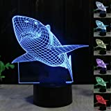 Unitake Illusion Table Desk Lamp 7 Colors LED for Home Bedroom Decoration Kids Birthday Gifts Shark
