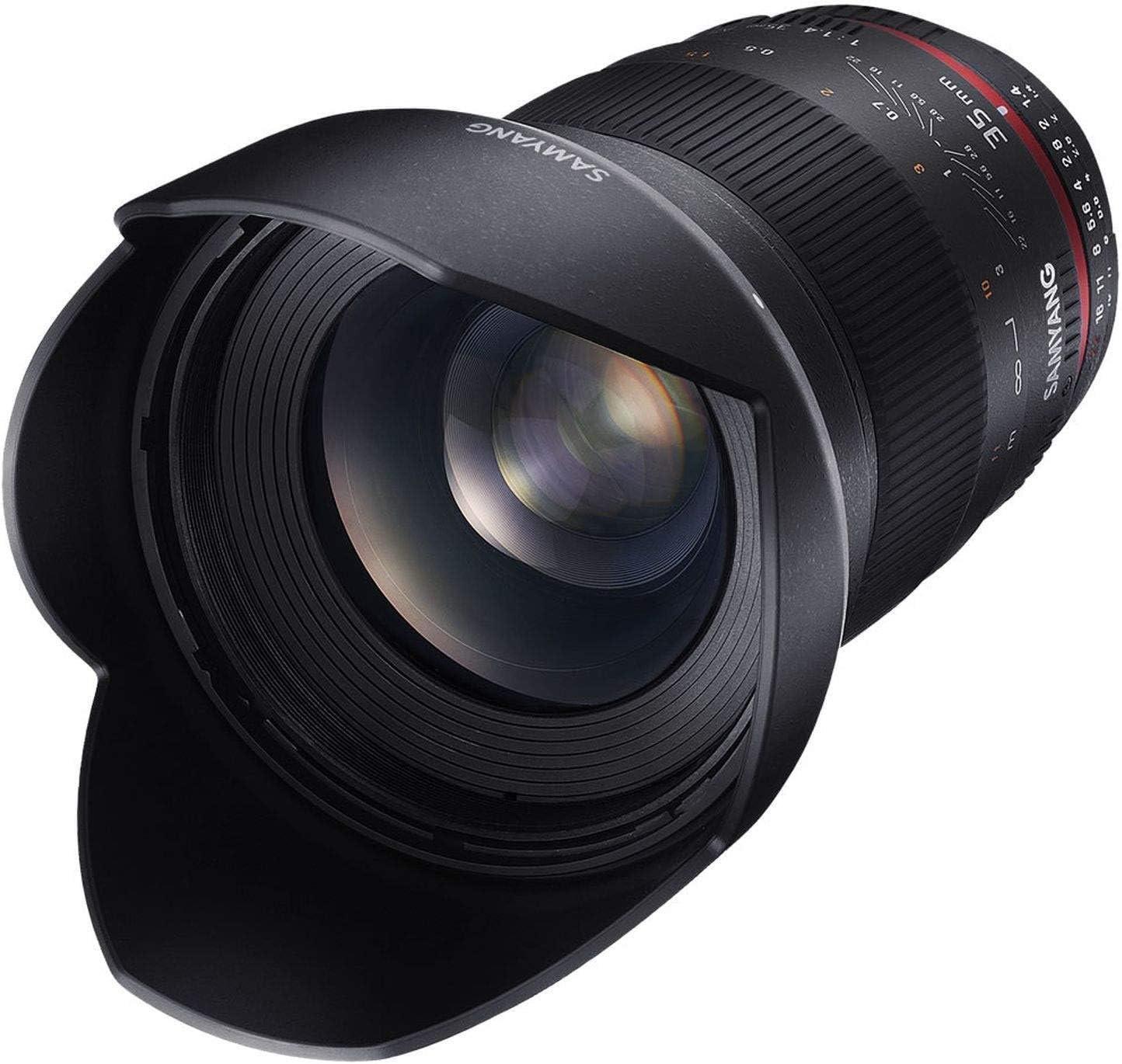 Samyang F1111003101 - Objetivo fotográfico DSLR para Nikon F Ae (Distancia Focal Fija 35mm, Apertura f/1.4-22 AS UMC, diámetro Filtro: 77mm), Negro