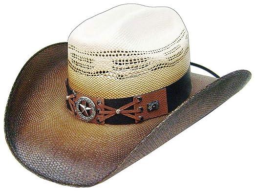 9bc4476f2c54e Modestone Traditional Bangora Rodeo Straw Sombrero Vaquero White   Amazon.es  Ropa y accesorios