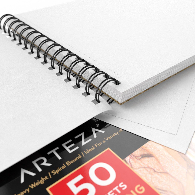 Pack de 2 blocs de 50 hojas cada uno ARTEZA Cuadernos de dibujo Papel grueso de 130g Ideales para dibujo art/ístico con medios secos