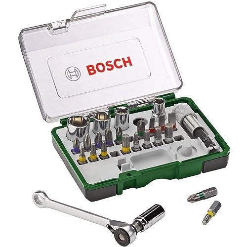 Bosch 2607017160 - Pack de 27 unidades para atornillar, con llave de carraca, versión estándar, color negro y verde