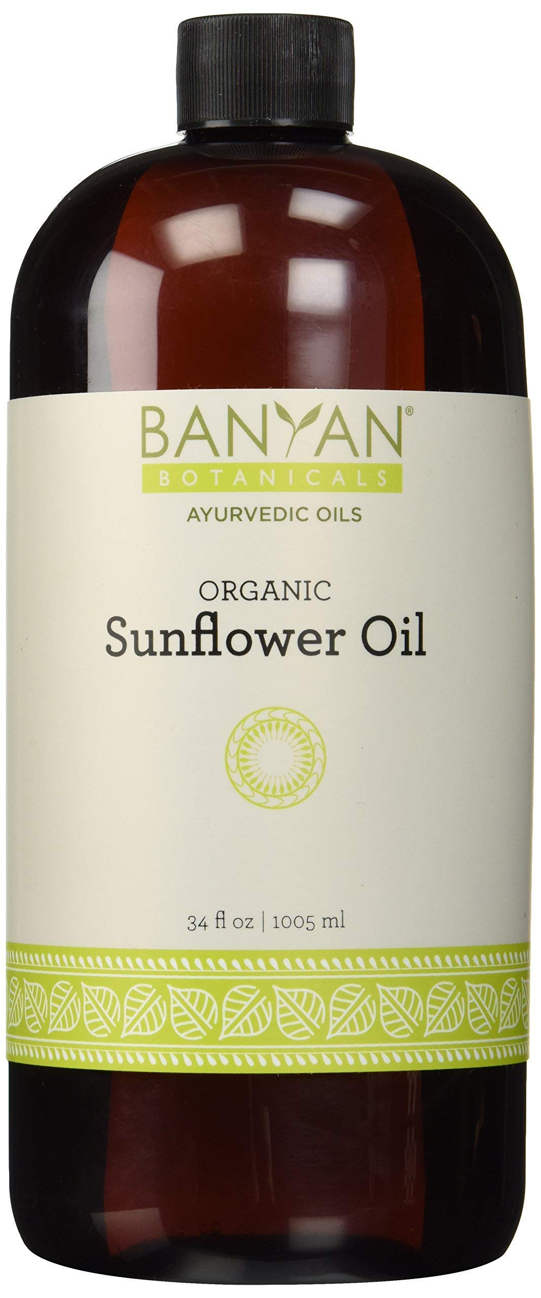 Banyan Botanicals Sunflower Oil - USDA Organic, 34 oz- Traditional Ayurvedic Oil for Massage, 100% Pure - Lightweight Carrier Oil by Banyan Botanicals