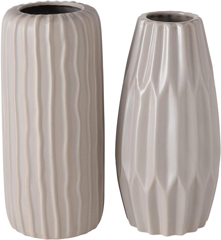 CasaJame Lot de 2 vases d/écoratifs en fa/ïence Beige 25,5 x 12 cm