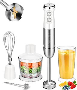 Hand Blender Blusmart Immersion Hand Blender 5-in-1 Blender Stick 800W Powerful 13-Speed Multi-Purpose Blenders Handheld with 4-Blades Chopper Beaker Whisk and Milk Frother Attachments