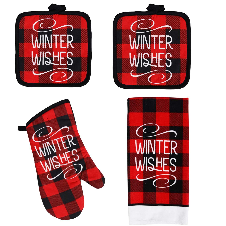 Reeds Bundles Buffalo Plaid Christmas, Buffalo Check Christmas Décor, Buffalo Plaid Kitchen Towels, Christmas Buffalo Check, Kitchen Buffalo Check, Pot Holders and Oven Mitts (Winter Wishes)