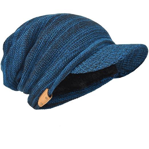 Mens Slouch Beanie Vintage Knit Cadet Cabbie Skull Cap with Visor B319  (Blue) 480e88dd8d35