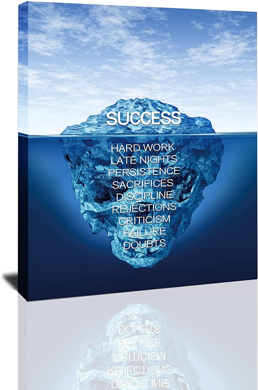 Success Iceberg Wall Art Canvas, Inspirational Success Canvas Wall Art Iceberg Pictures Posters, Motivation Entrepreneur Quotes for Home school Office Artwork Decor Ready to Hang -12x16inch