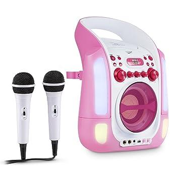 auna Kara Illumina • Kinder Karaoke Anlage • Karaoke Player • Karaoke Set • 2 x Mikrofon • CD+G-Player • Top-Loading • USB •