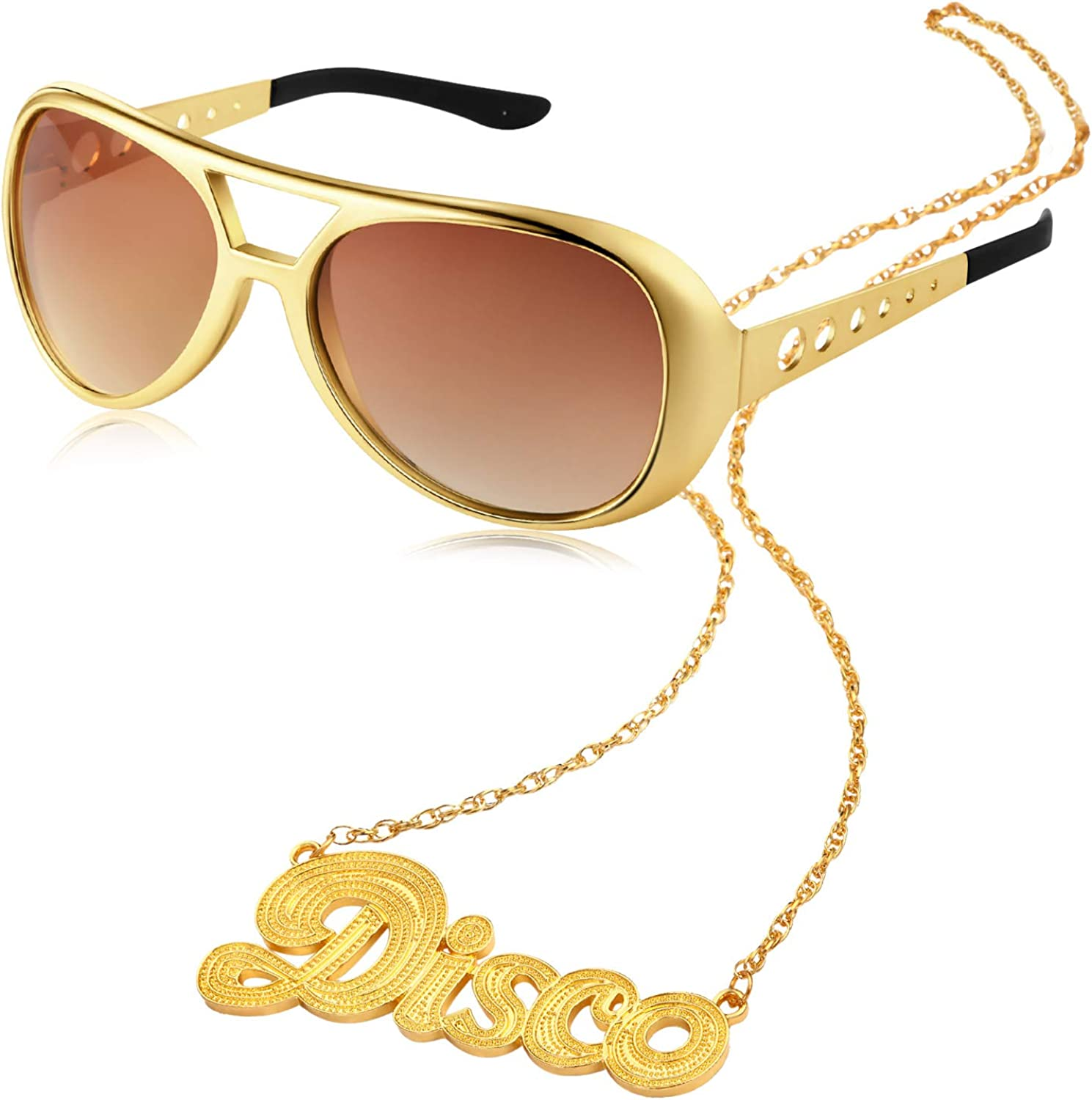 2 Pieces Disco Set Includes 1 Pair of Rock Star Costume Sunglasses and 1 Piece Disco Sign Necklace 50's 60's Gold 71AU2BQ4iskL