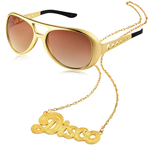 2 Pieces Disco Set Includes 1 Pair of Rock Star Costume Sunglasses and 1 Piece Disco Sign Necklace 50s 60s Gold