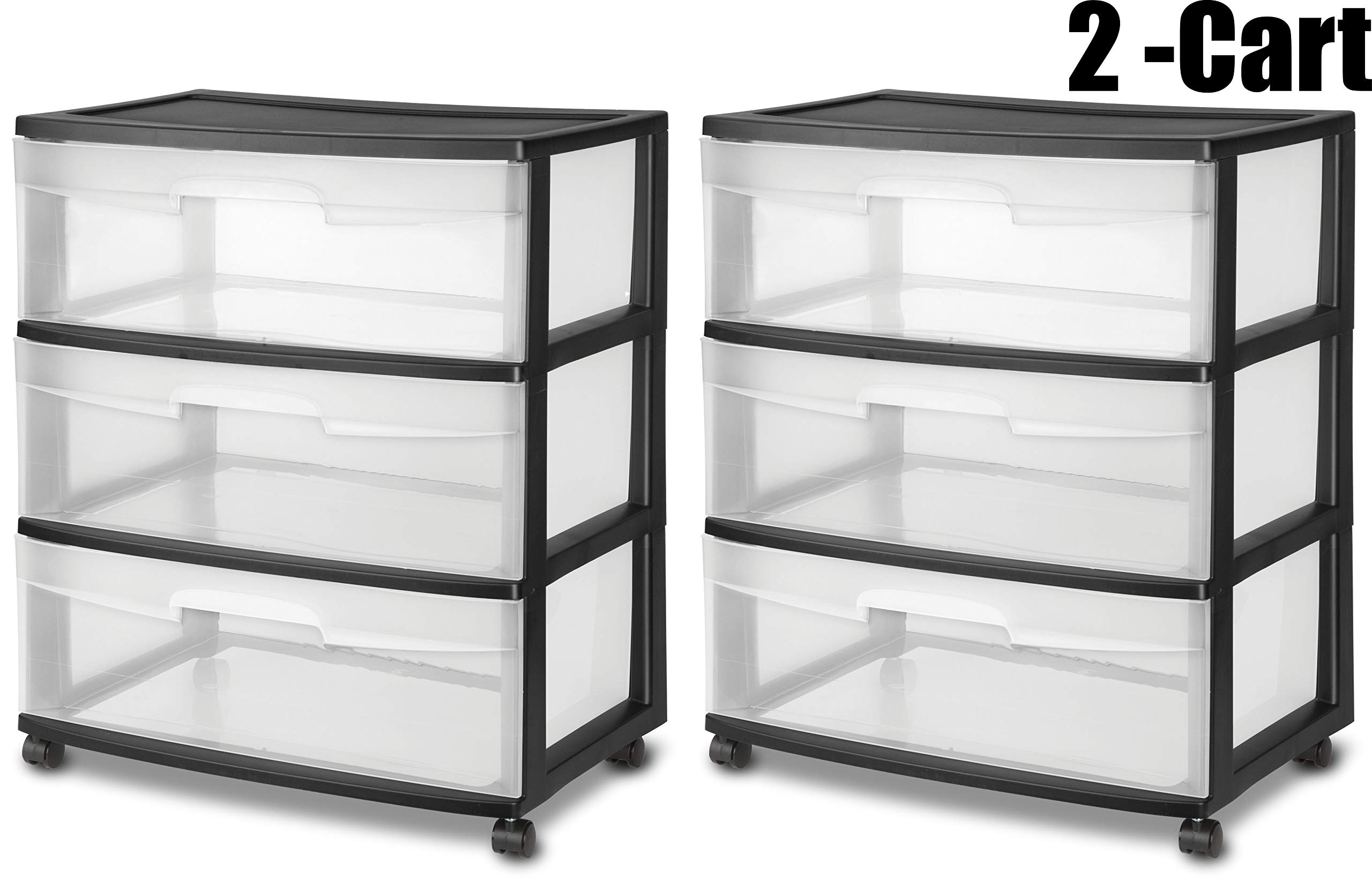 STERILITE Wide 3 Drawer Cart, Black Frame with Clear Drawers and Black Casters, 2-Cart