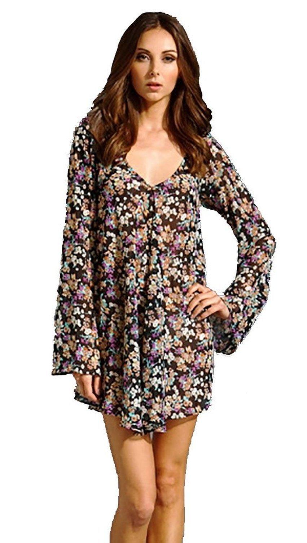For Love & Lemons Day Tripper Dress Tunic Floral Blouse in Black (S)