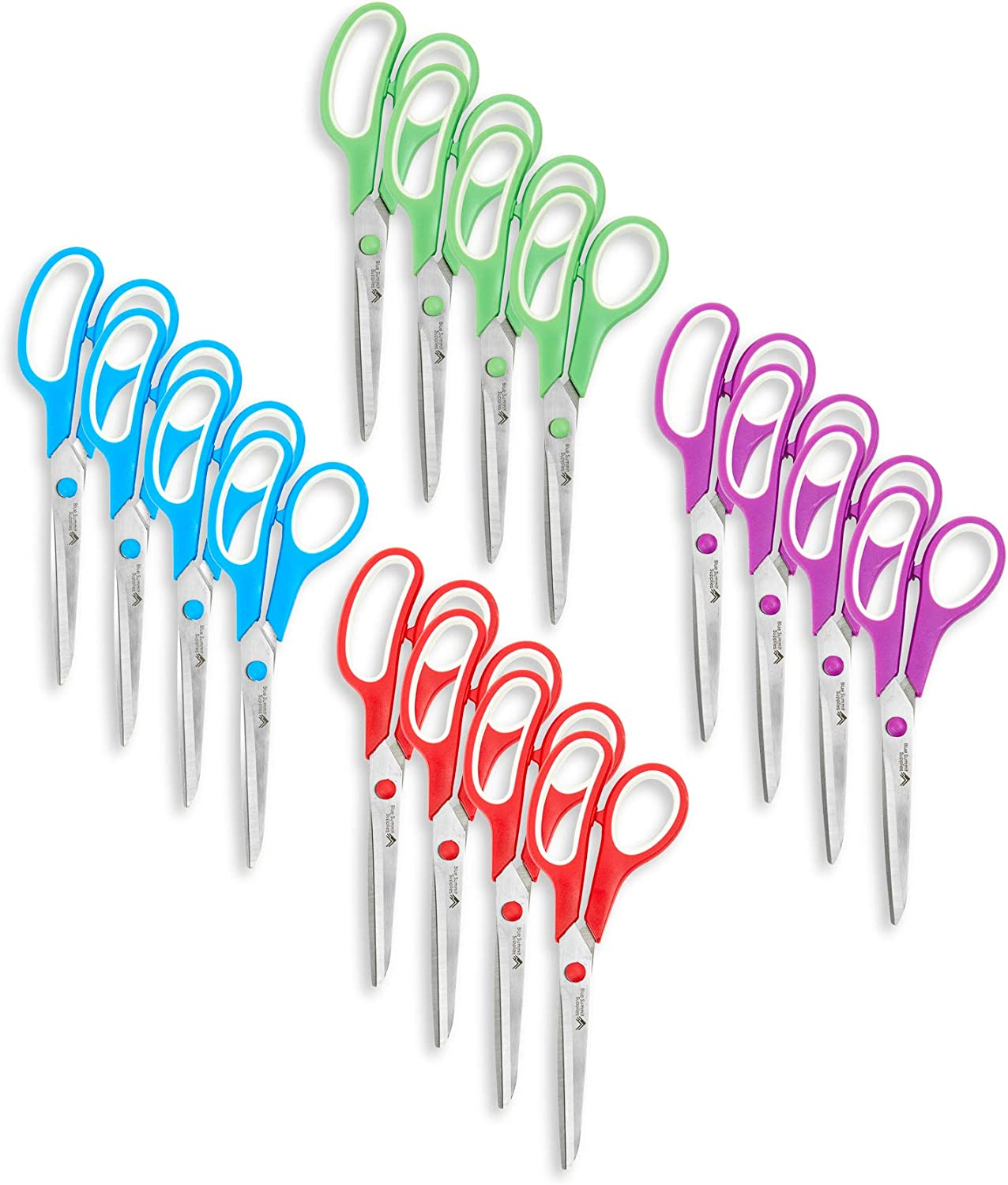 Blue Summit Supplies Multi Purpose Scissors, 8 Inch Household Shears with Comfort Grip, Sharp Scissors for Craft or Office, Assorted Colors, 16 Pack