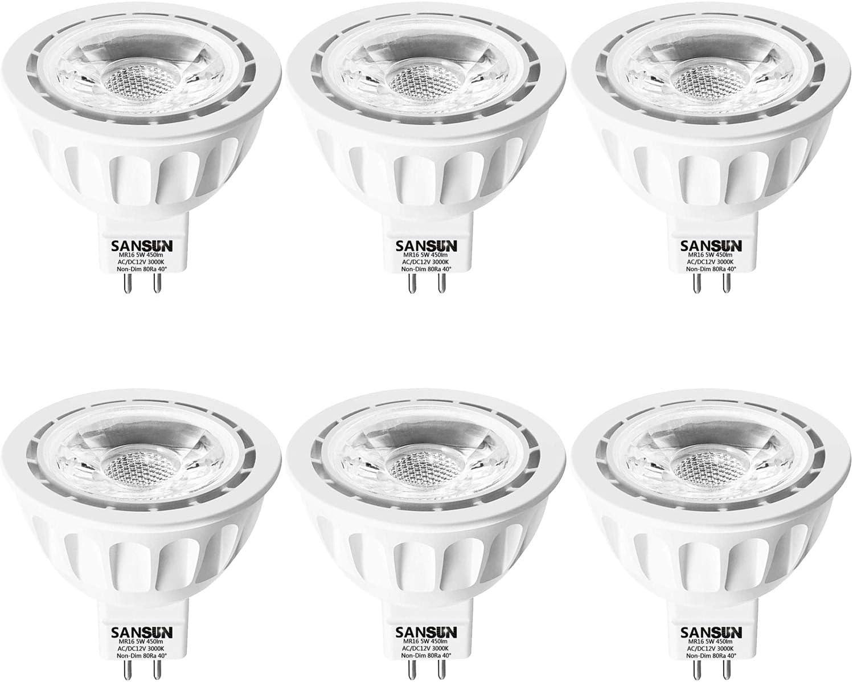 5W LED MR16 Light Bulbs, 12v 50w Halogen Replacement, GU5.3 Bi-Pin Base, Soft White 3000K, (Pack of 6)