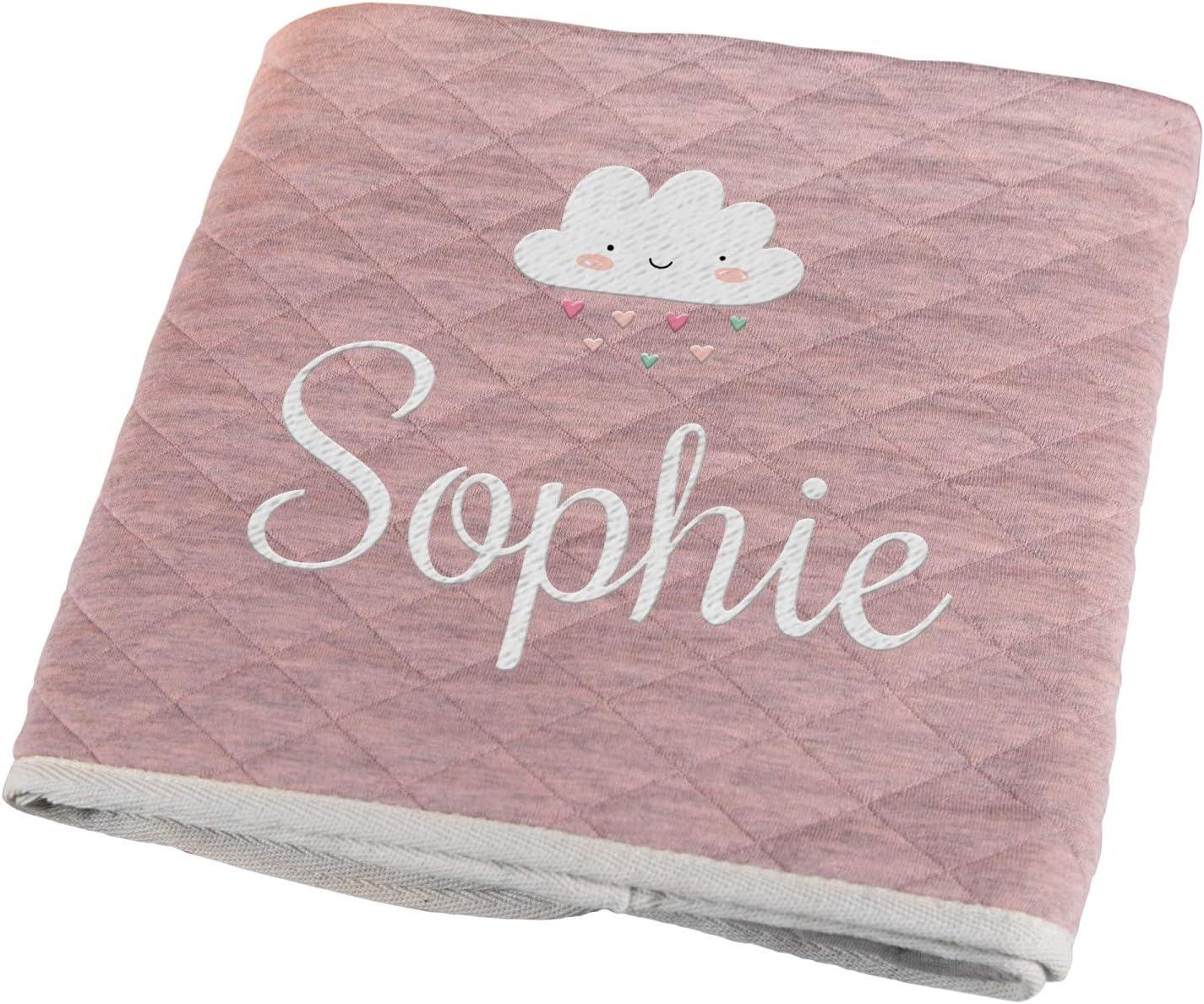 Personello® Manta bebe recien nacido rosa, personalizada con nombre y fecha (nube) | Regalos originales para bebes | nacimiento | bautismo
