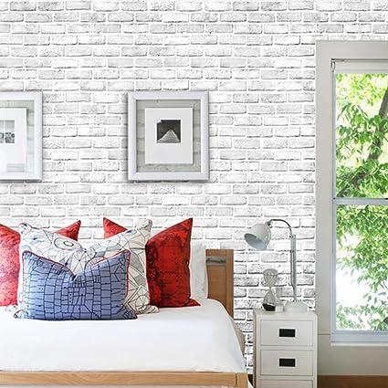 Amazoncom Snowfoller White Brick Wall 3d Wall Sticker Self