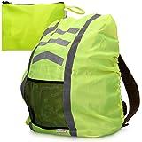 kwmobile Regenschutz Rucksack Schulranzen Regenhülle - 64x75 cm Schutzhülle für Ranzen reflektierend wasserabweisend - Regenschutzhülle Neon Gelb