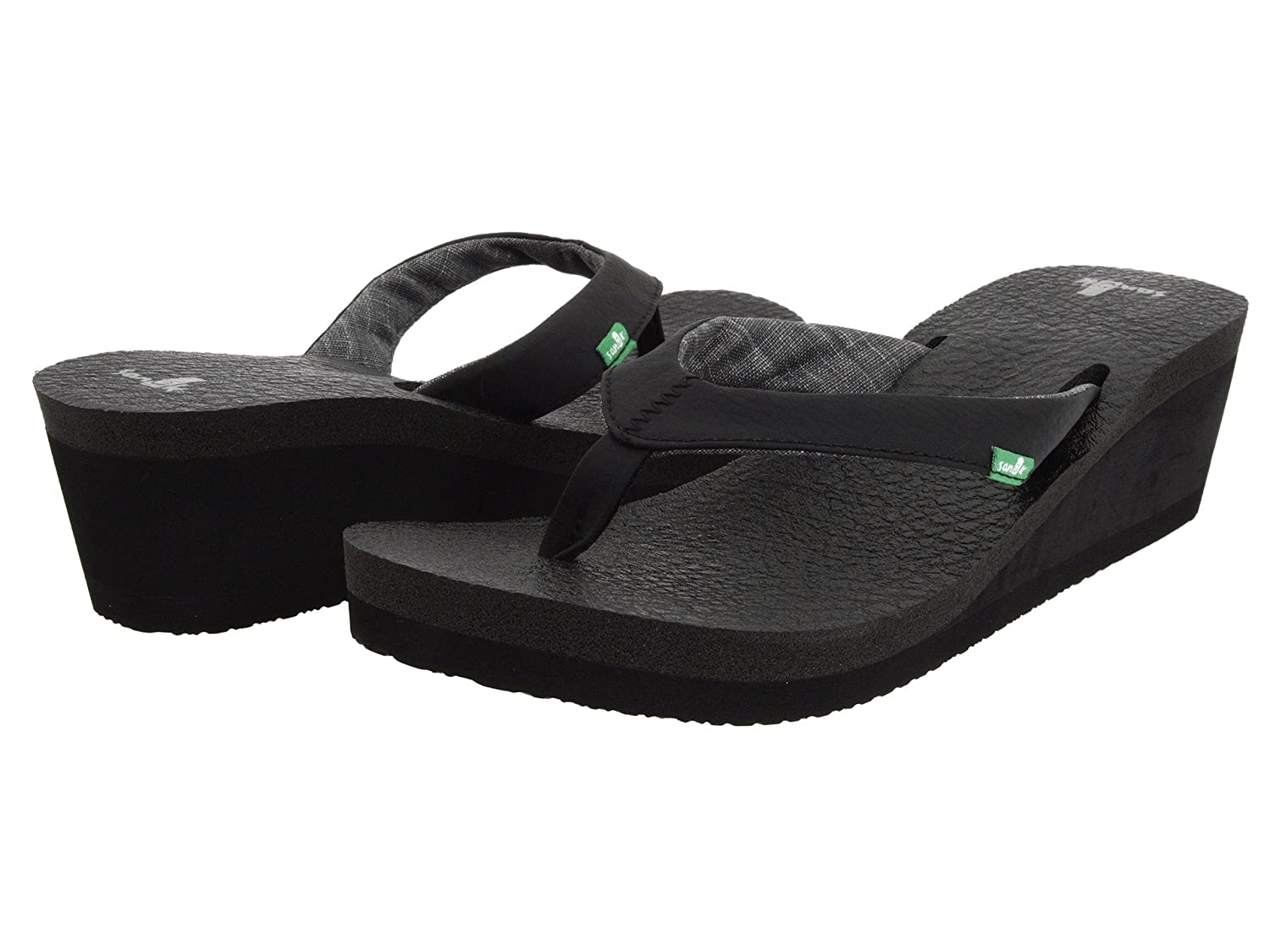 7eec383890a1 Sanuk Women s Yoga Mat Wedge Flip Flops Black  Amazon.co.uk  Shoes   Bags
