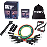 Resistance Bands Set Workout Bands 150LBS 11 PCS with Exercise Tube Bands,Door Anchor,Legs Ankle Straps,Waterproof Carry Bag and Exercise Guide Booklet-For Resistance Training,Physical Therapy