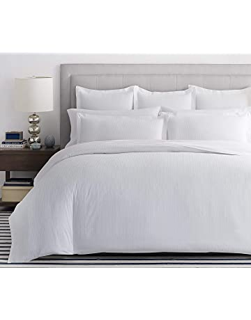 65731afbd6 Viceroybedding VICEROY BEDDING 100% Egyptian Cotton, BOUTIQUE STRIPE Duvet  Cover, WHITE, Double