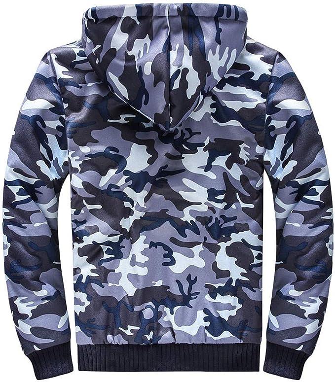 Mens Camo Windbreaker Hoodie Hooded Sweatshirt Zipper Jacket Coat Outwear Tops