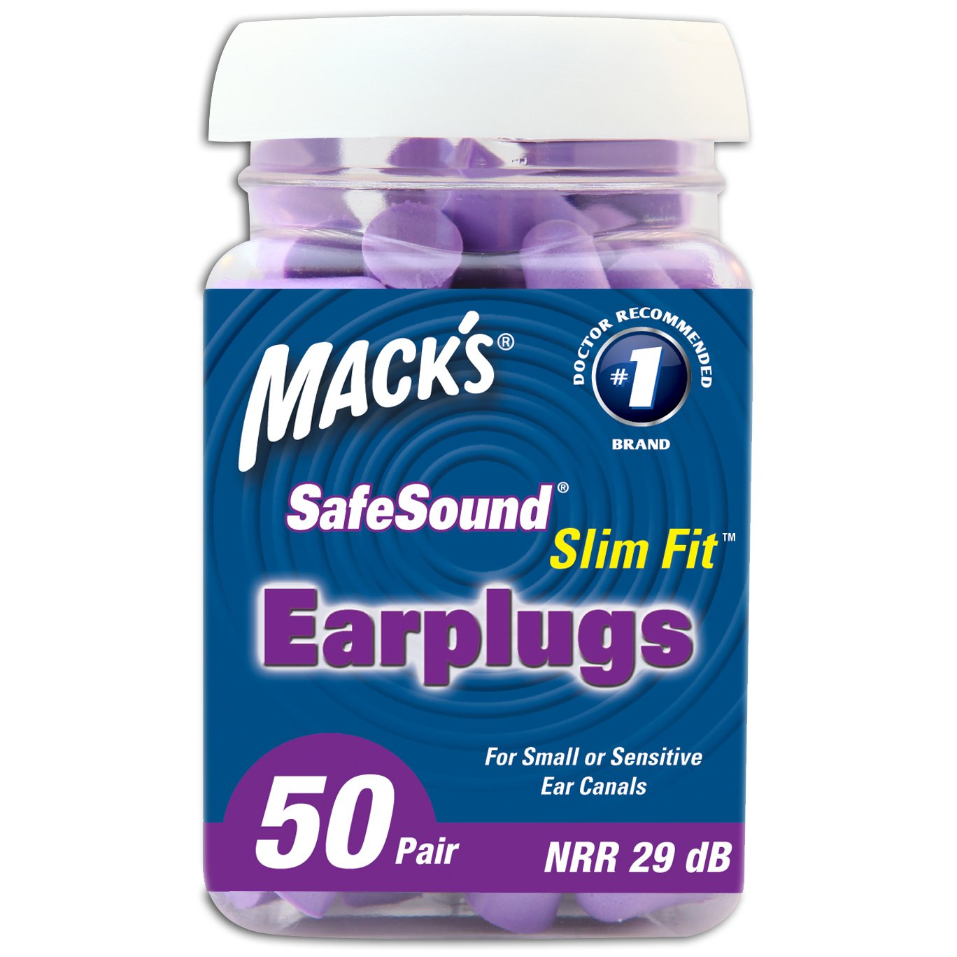 Mack's Slim Fit Soft Foam Earplugs, 50 Pair - Small Ear Plugs for Sleeping, Snoring, Traveling, Concerts, Shooting Sports and Power Tools by Mack's (Image #2)