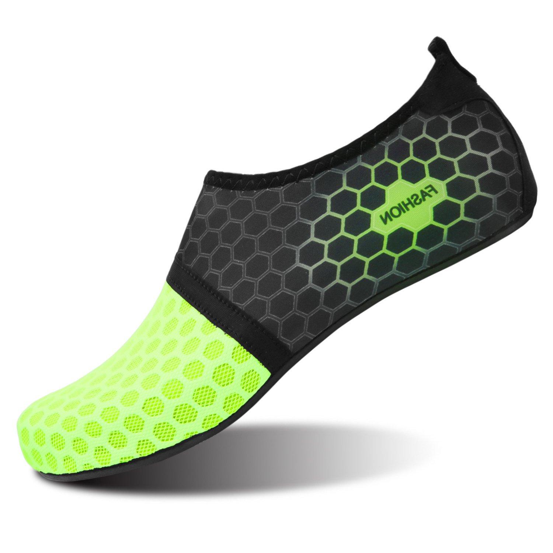 b5b6807ab630 Galleon - L-RUN Unisex Water Skin Shoes Mens Barefoot Aqua Socks Dot Green  M(W 6.5-7.5) EU37-38