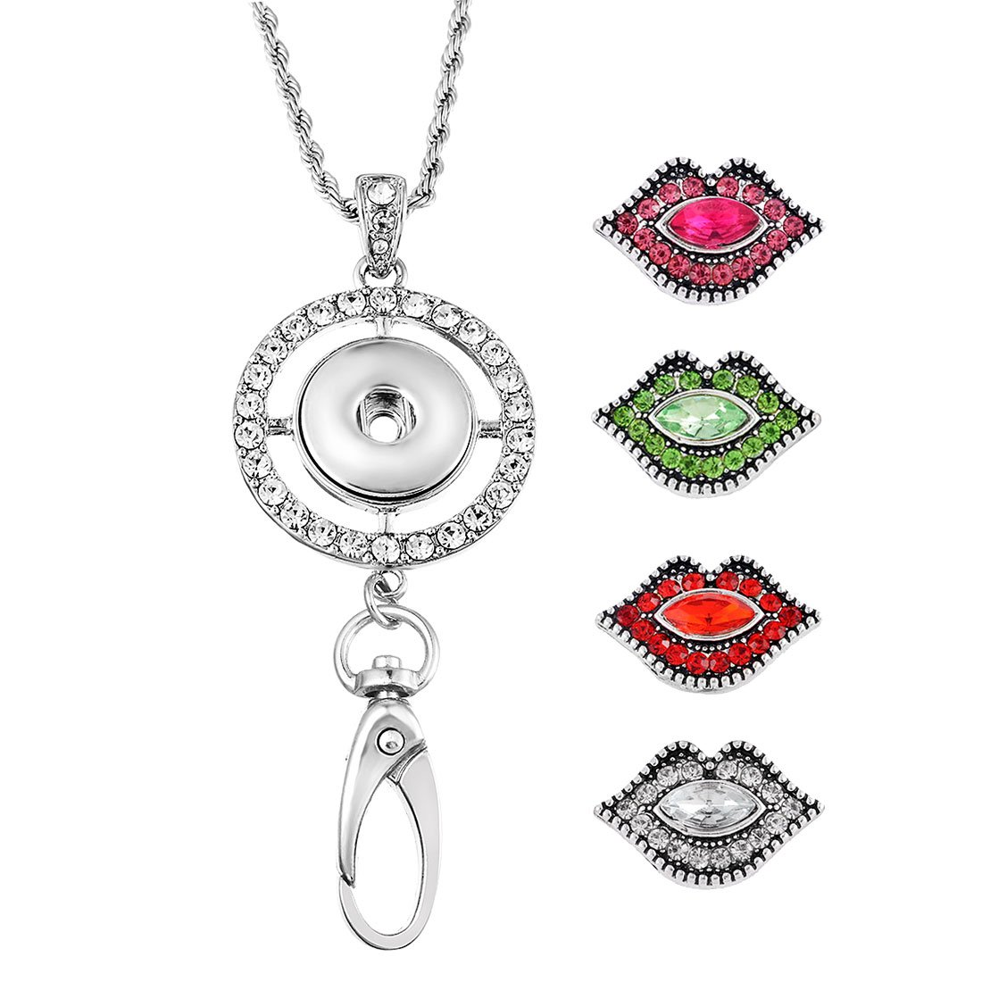 Souarts Womens Office Lanyard ID Badges Holder Necklace with 4pcs Lip Rhinestone Snap Charms Jewelry Pendant Clip