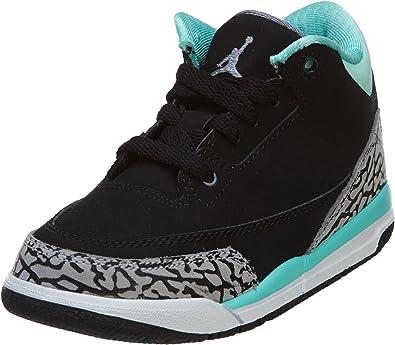 Nike air Jordan 3 Retro GP Childrens Trainers 441141 Sneakers Shoes (UK 11.5 us 12C EU 29.5, Black Iron Purple Bleached Turquoise 045)