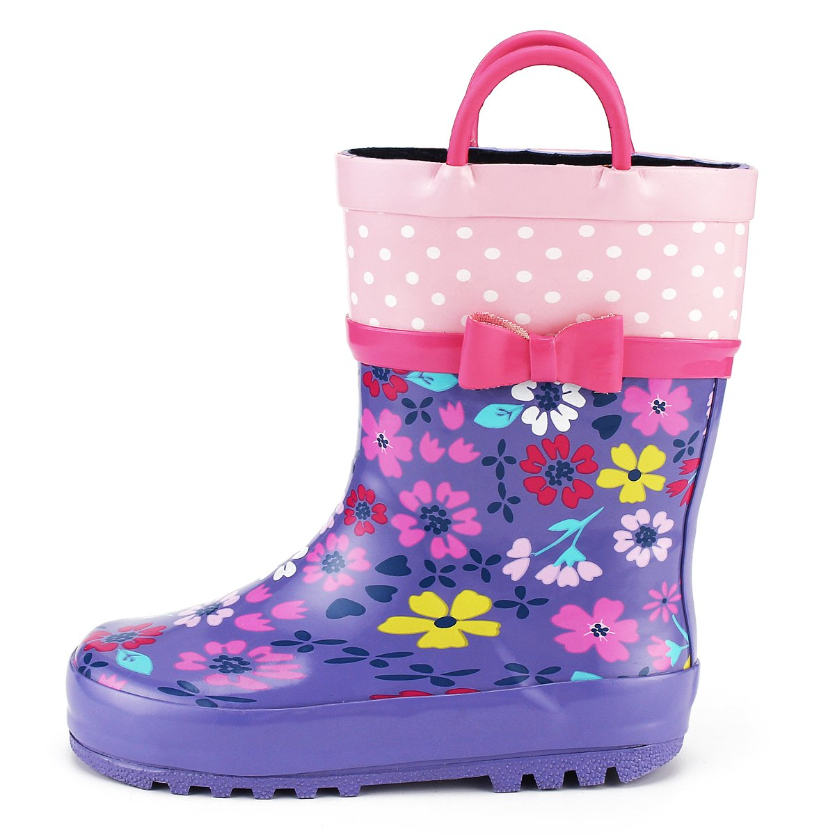 KomForme Kids Girl Rain Boots, Waterproof Rubber Printed with Handles in Various Prints and Different Sizes