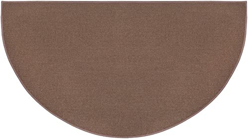 Fire Retardant Fiberglass Half Round Hearth Fireplace Area Rug Polyester Trim Non Slip Mat Low Profile Protects Floors from Sparks Embers Logs 32 W x 60 L Brown