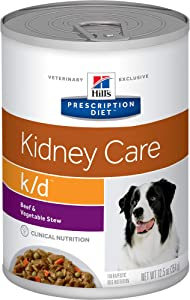 Hill's Prescription Diet K/d Kidney Care Beef & Vegetable Stew Canned Dog Food, 12.5 oz, 12 Pack Wet Food