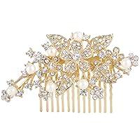 Ever Faith Bridal Orchid Leaf Simulated Pearl Hair Comb Clear Austrian Crystal