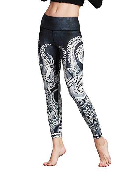Amazon.com: LLRU - Leggings de yoga con estampado de capris ...