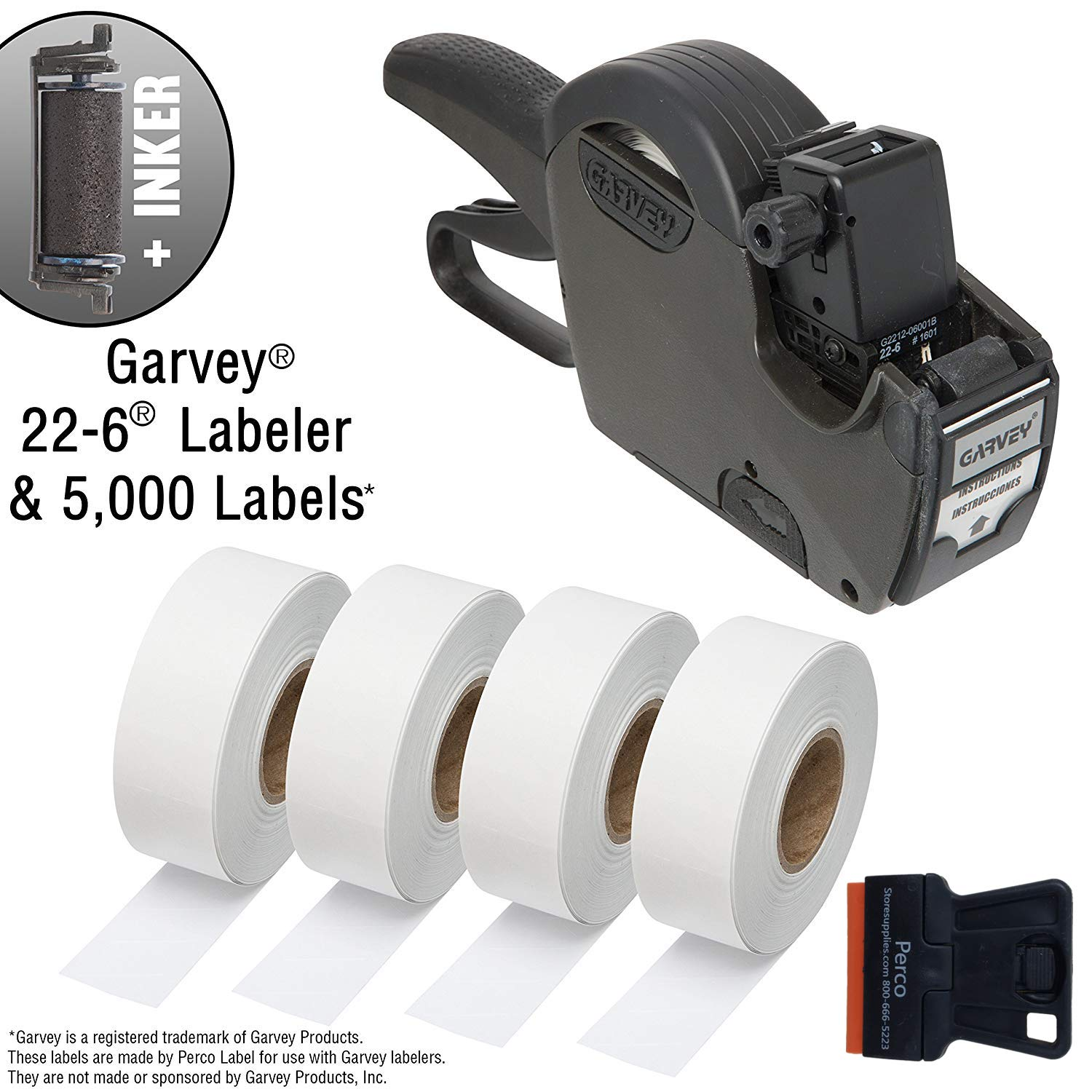 Garvey 22-6 One Line Price Marking Gun Kit: Includes Price Gun, 5,000 White Pricing Labels and Preloaded Inker by Perco (Image #1)