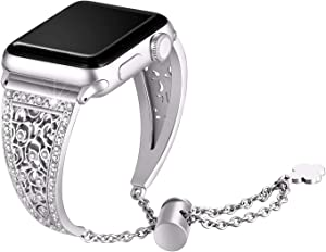 Secbolt Bling Metal Bands Compatible with Apple Watch Band 38mm 40mm iwatch SE Series 6/5/4/3/2/1, Dressy Jewelry Diamond Cuff Bracelet Bangle Wristband Women, Silver