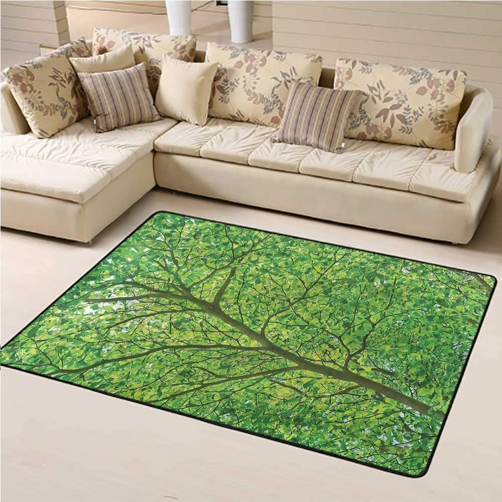 Indoor Outdoor Carpet Forest Easy Clean Stain Fade Resistant Tree Branch Spring Leaves 4' x 6' Rectangle